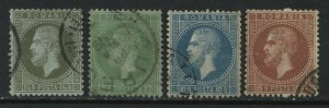 Romania 1872 various values to 15 bani CDS used