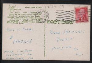 Empress Hotel 1954 Picture Postcard Vintage Color Postal Card with 2c Stamps F