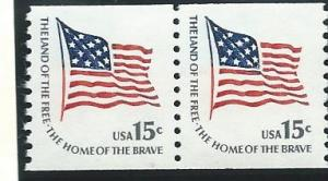 US#1618C Flag Coil  Pair  (MNH) CV $1.50