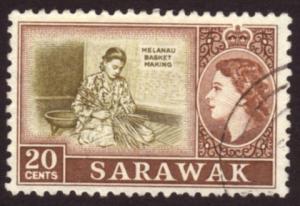 Sarawak 1955 SG#196 20c Brown Basket Making VFU