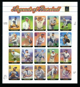 Legends of Baseball Sc 3408 33¢ Sheet of 20  Jackie Robinson Ty Cobb Babe Ruth