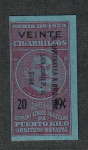 US Puerto Rico 1953 Cigarette Revenues 20 @ 19c