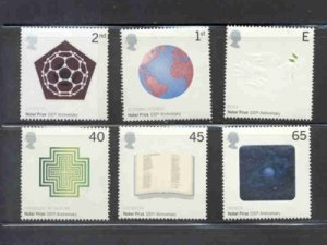 Great Britain Sc 1993-98  2001 Nobel Prize stamp set mint NH