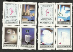 MACEDONIA-MNH** 2 BLOCKS OF 4 STAMPS, 5 - RED CROSS-DIFERENT COLOR -1992. (107)