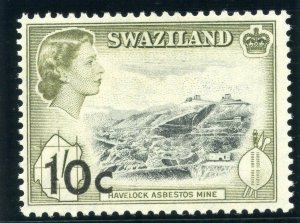 Swaziland 1961 QEII 10c on 1s black & deep olive MLH. SG 73. Sc 75.