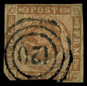 Denmark Scott #2 Used Numeral Postmark #120 Kellinghusen, Denmark