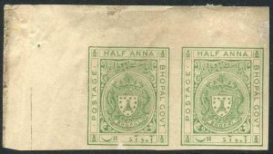 Bhopal SGO314 1932 1/2a Yellow-green IMPERF Opt SERVICE OMITTED PLATE PROOF