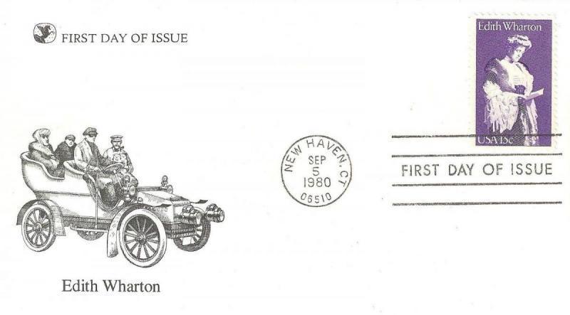 U.S. 1980 EDITH WHARTON American Novelist #1832 on a Readers Digest FDC Cache...