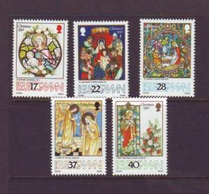 Isle of Man Sc 524-28 1992 Christmas stamp set mint NH