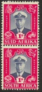 SOUTH AFRICA 1947 KGVI 1d Royal Visit Vertical Pair Sc 103 MNH