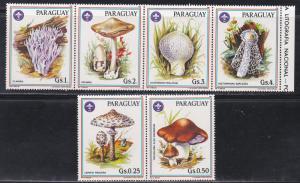 Paraguay MNH Set Of 6 Mushrooms 1986