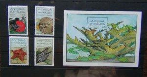 Barbuda 1985 Marine Life set & Miniature Sheet MNH