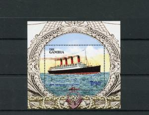 Gambia 2004 MNH Ocean Liners 1v S/S Ships RMS Aquitania Cunard Lines Stamps