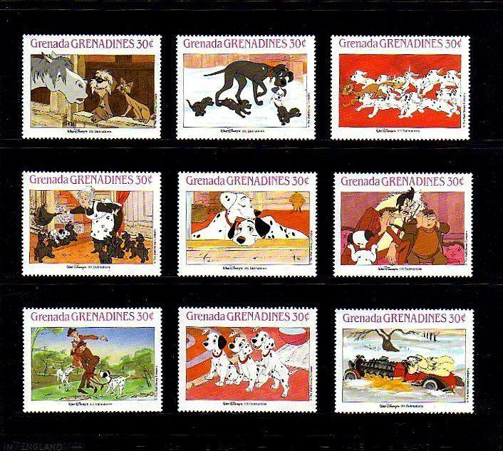 GRENADA - 1987 - DISNEY - 101 DALMATIANS - DOGS - ANIMAL STORIES  MINT SET OF 9!