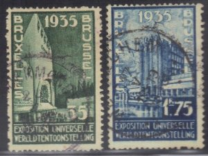 BELGIUM SC# 258-261 **USED** 55f,1.55f  1934   SEE SCAN