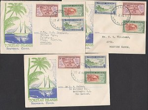 TOKELAU 1948 set on 3 FDCs - from each island in the group..................G222