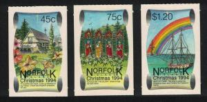 Norfolk Ships Stained Glass Christmas Self-adhesive 3v SG#580-582 SC#566-568