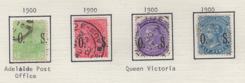 South Australia 1900 OVP Official Stamps Short Set 4 Stamps F