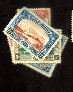 BRITISH GUIANA #152-6 MINT F-VF OG HR 154 SM THIN 153 PAPER ON BACK Cat $163