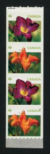 Canada 2528ai End strip of 4 MNH Flowers, Daylilies