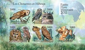 COMORES 2011 SHEET OWLS HIBOUX EULEN BUHOS CORUJAS CHOUETTES BIRDS cm11121a