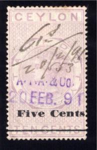 Ceylon Revenue, Stamp Duty, 5c on 10c, Used, VF