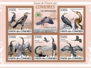 COMORES 2009 SHEET LES ANHINGIDAES ANHINGIDAE DARTERS BIRDS ANHINGA cm9423a