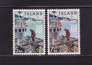Iceland 354-355 Set MH Herring Boat, Freedom From Hunger (A)