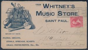 2¢ BUREAU 1894 ON LARGE BLUE ILLUST ADVT VF+ WHITNEY'S MUSIC STORE COVER BS846