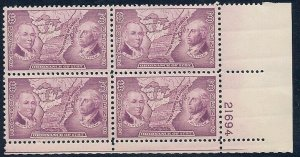 MALACK 795 F/VF or better OG NH, plate block of 4, f..MORE.. pbs0033