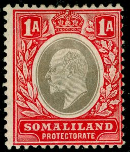 SOMALILAND PROTECTORATE SG46a, 1a grey-black & red, M MINT. Cat £22.