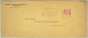 84285 - GUATEMALA - Postal History COVER w/ REVENUE STAMP Sello de CONSTRUCCION