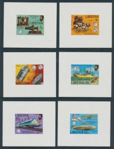LIBERIA #742-47 DELUXE S/S TELEPHONE IMPERF ERROR COLLECTION BR5351