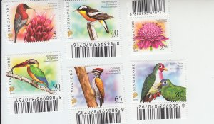 2007 Singapore Flower & Birds (Scott 1246-7, 1250, 1252,1254-5) )MNH