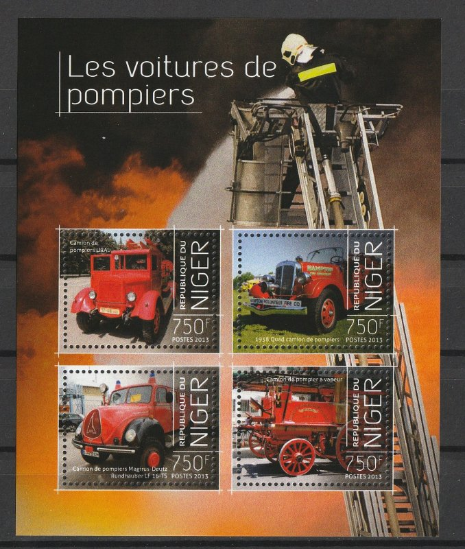 Niger MNH S/S 1498 Antique Fire Engines 2013