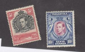 KENYA UGANDA & TANGANIKA # 83-84 VF-MH KGV1 5sh & 10sh CAT VALUE $70