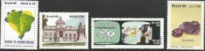 BRAZIL 2165, 2167, 2172, 2199, MNH, 4 INDIVIDUAL STAMPS, 1989