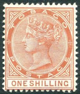 TOBAGO-1896  1/- Orange-Brown Sg 24c LIGHTLY MOUNTED MINT V31464