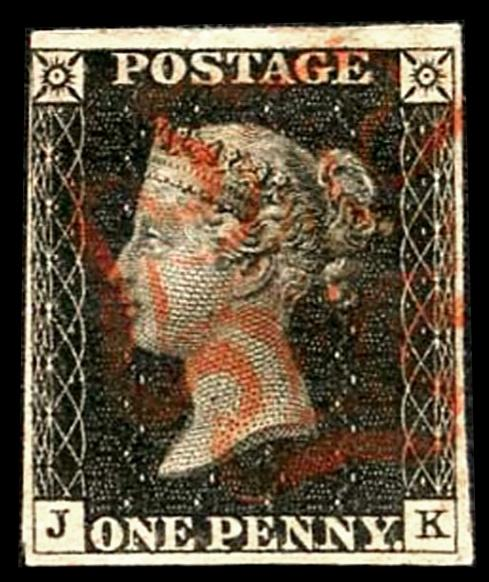 Penny Black (JK) Red Maltese Cross Four Margins