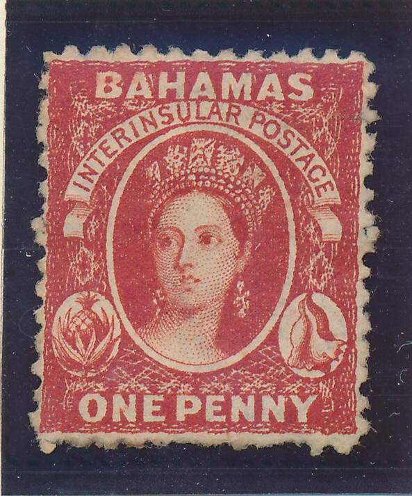 Bahamas Stamp Scott #12, Unused, No Gum, Hinge Remnants, 1863-75 1p QV - Free...