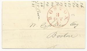 US Stampless Cover Boston, Ms Red CDS October 3, 1851 1c Rate