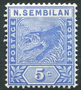 NEGRI SEMBILAN-1894 5c Blue Sg 4 LIGHTLY MOUNTED MINT V19915