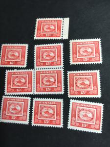 Canada Scott #314 Mint (10) F-VF-NH 2016 Cat. US$12. Stamp on Stamp 15c Capex