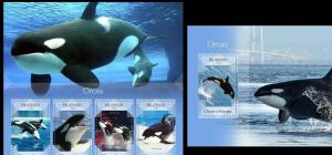 Sao Tome and Principe 2014 fauna orcas whales mammals marine life set+s/s MNH
