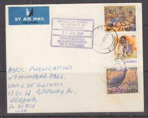 ZAMBIA, 1984 Airmail Card, 2n., 10n. on 3n. & 18n., Chilanga to USA.