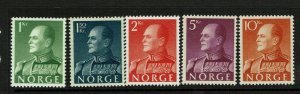 Norway SC# 370-374, Mint Hinged, small Hinge Remnant - S9405