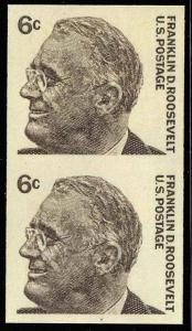 #1298a 1967 6¢ ROOSEVELT XF OG NH IMPERF PAIR ERROR WITH PF CERT WLM1087