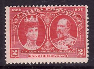 Canada-Sc#98-Unused heavy hinge 2c carmine KEVII & Queen Alexandra-1908-id510-