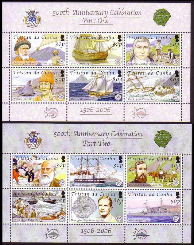 Tristan da Cunha Quincentenary Sheetlets 1 and 2 SG#MS849