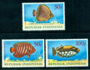 Indonesia #834-836  Mint  VF NH  Scott $30.00  Fish